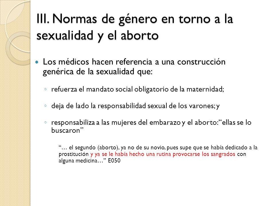 III. Normas de género en torno a la sexualidad y el aborto Los médicos hacen referencia a una construcción genérica de la sexualidad que: refuerza el
