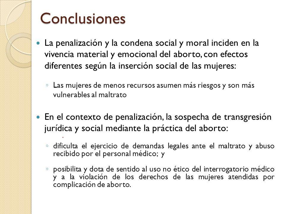Conclusiones La penalización y la condena social y moral inciden en la vivencia material y emocional del aborto, con efectos diferentes según la inser