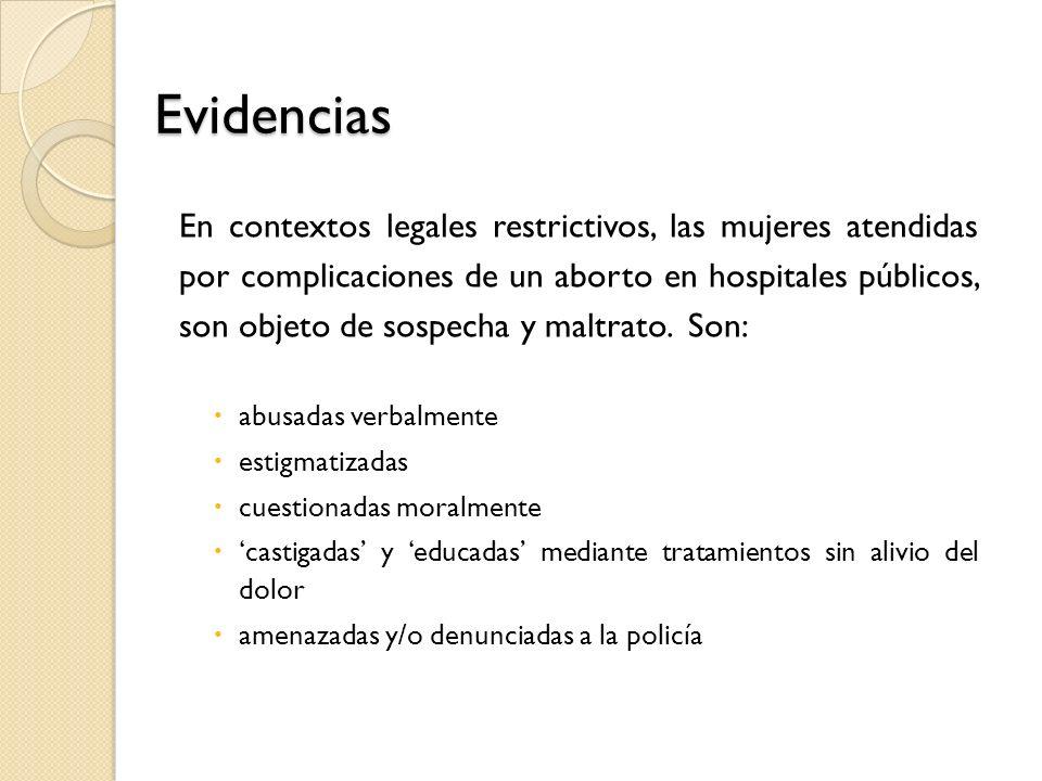 Evidencias En contextos legales restrictivos, las mujeres atendidas por complicaciones de un aborto en hospitales públicos, son objeto de sospecha y maltrato.
