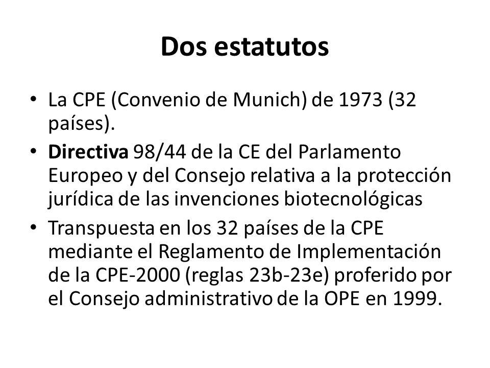 Dos estatutos La CPE (Convenio de Munich) de 1973 (32 países). Directiva 98/44 de la CE del Parlamento Europeo y del Consejo relativa a la protección