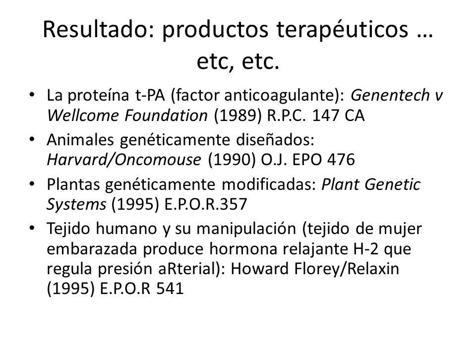 Resultado: productos terapéuticos … etc, etc. La proteína t-PA (factor anticoagulante): Genentech v Wellcome Foundation (1989) R.P.C. 147 CA Animales