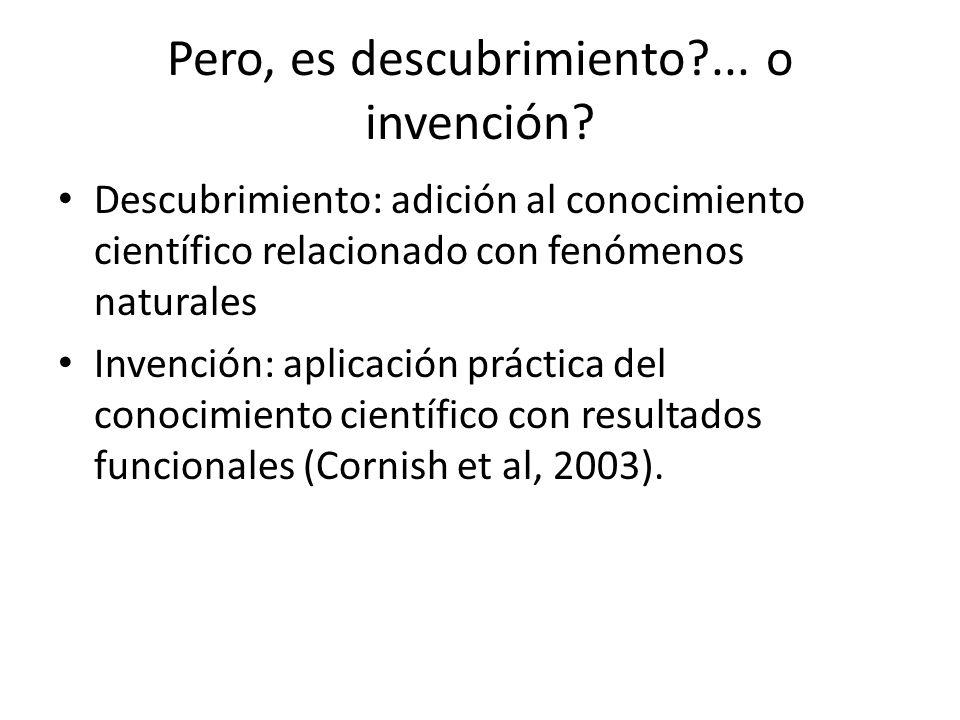 Pero, es descubrimiento?... o invención? Descubrimiento: adición al conocimiento científico relacionado con fenómenos naturales Invención: aplicación