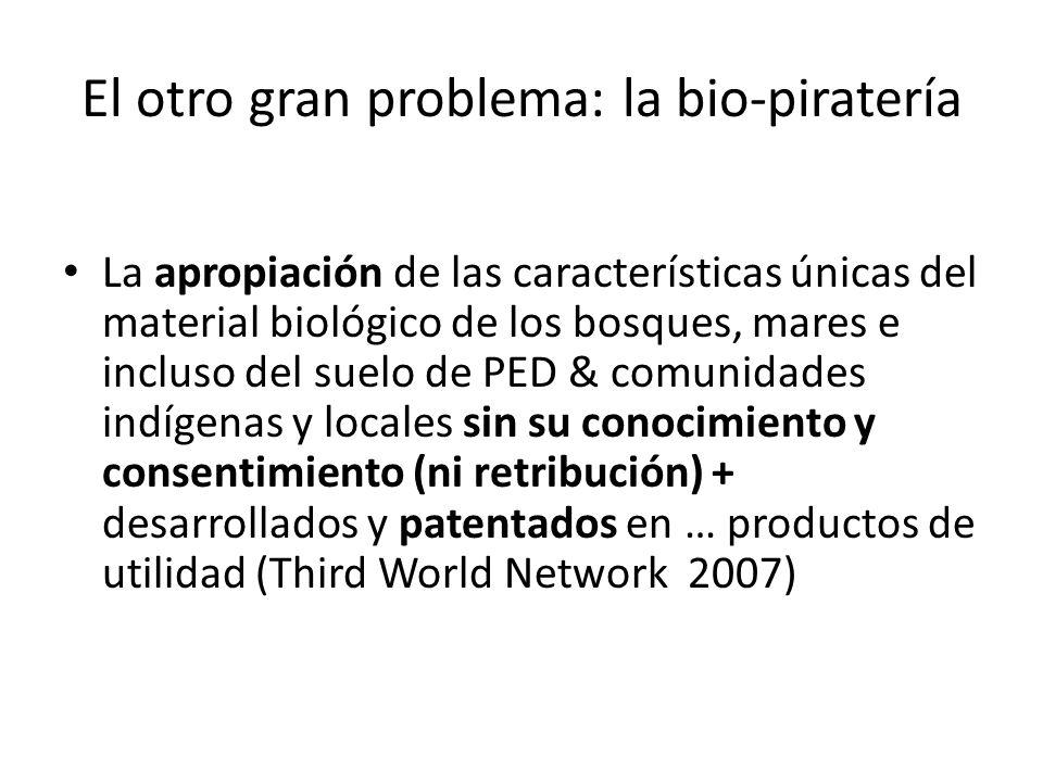 El otro gran problema: la bio-piratería La apropiación de las características únicas del material biológico de los bosques, mares e incluso del suelo