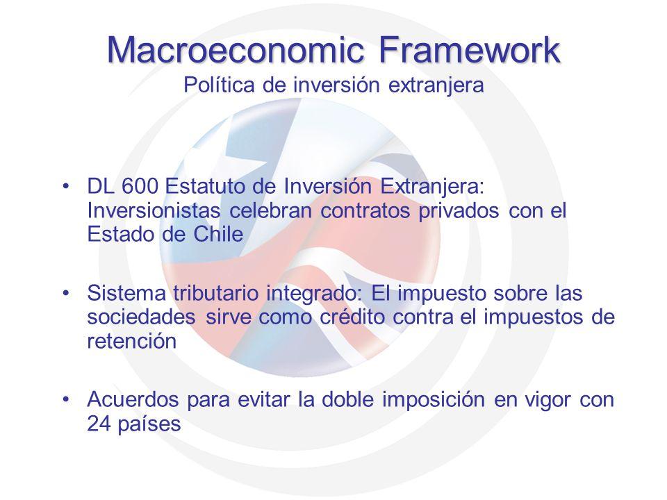 DL 600 Estatuto de Inversión Extranjera: Inversionistas celebran contratos privados con el Estado de Chile Sistema tributario integrado: El impuesto s