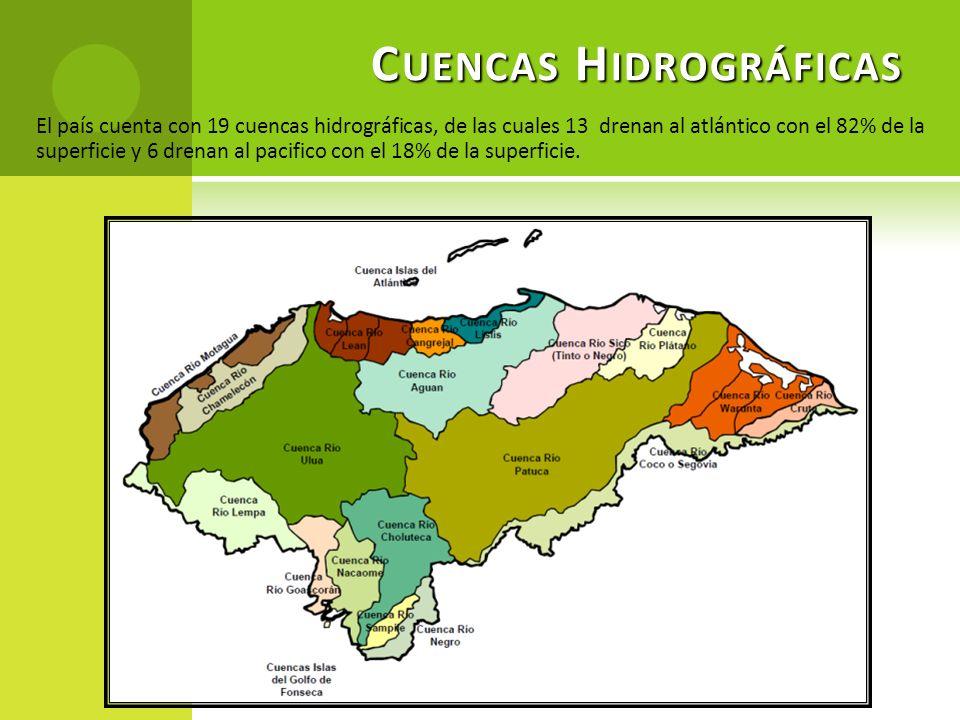 C UENCAS H IDROGRÁFICAS El país cuenta con 19 cuencas hidrográficas, de las cuales 13 drenan al atlántico con el 82% de la superficie y 6 drenan al pa