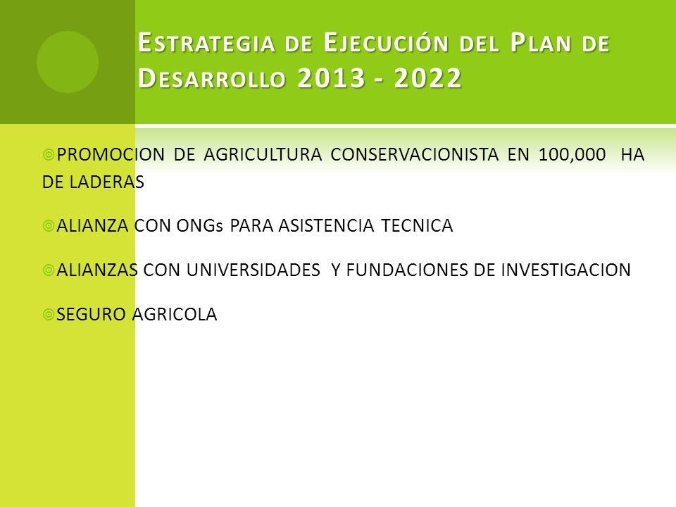 E STRATEGIA DE E JECUCIÓN DEL P LAN DE D ESARROLLO 2013 - 2022 PROMOCION DE AGRICULTURA CONSERVACIONISTA EN 100,000 HA DE LADERAS ALIANZA CON ONGs PAR