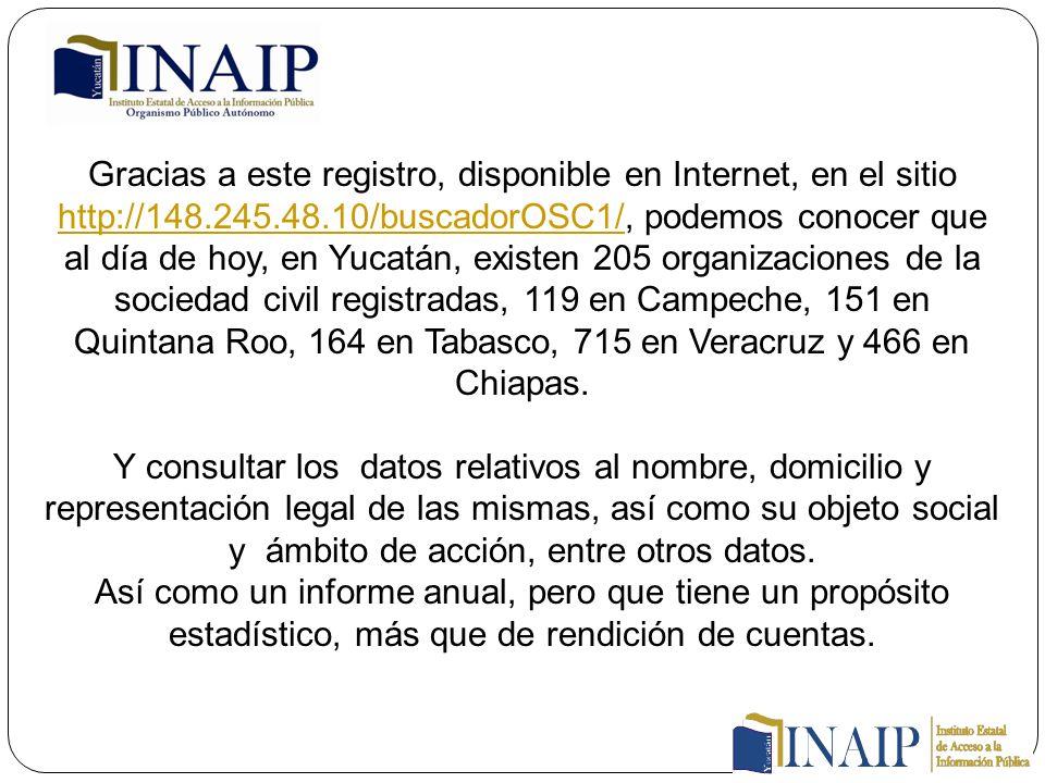 Gracias a este registro, disponible en Internet, en el sitio http://148.245.48.10/buscadorOSC1/, podemos conocer que al día de hoy, en Yucatán, existen 205 organizaciones de la sociedad civil registradas, 119 en Campeche, 151 en Quintana Roo, 164 en Tabasco, 715 en Veracruz y 466 en Chiapas.