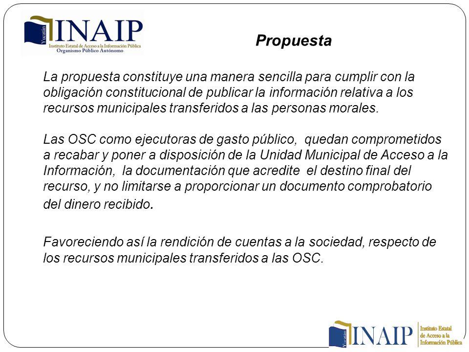 La propuesta constituye una manera sencilla para cumplir con la obligación constitucional de publicar la información relativa a los recursos municipales transferidos a las personas morales.