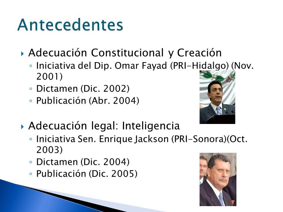 Adecuación Constitucional y Creación Iniciativa del Dip. Omar Fayad (PRI-Hidalgo) (Nov. 2001) Dictamen (Dic. 2002) Publicación (Abr. 2004) Adecuación