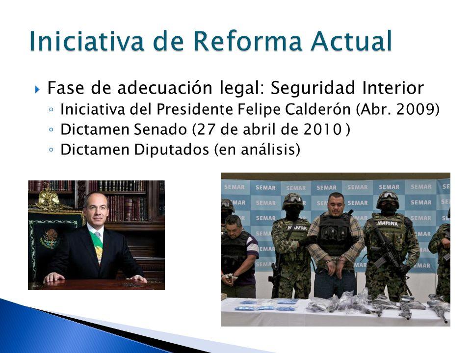 Fase de adecuación legal: Seguridad Interior Iniciativa del Presidente Felipe Calderón (Abr. 2009) Dictamen Senado (27 de abril de 2010 ) Dictamen Dip