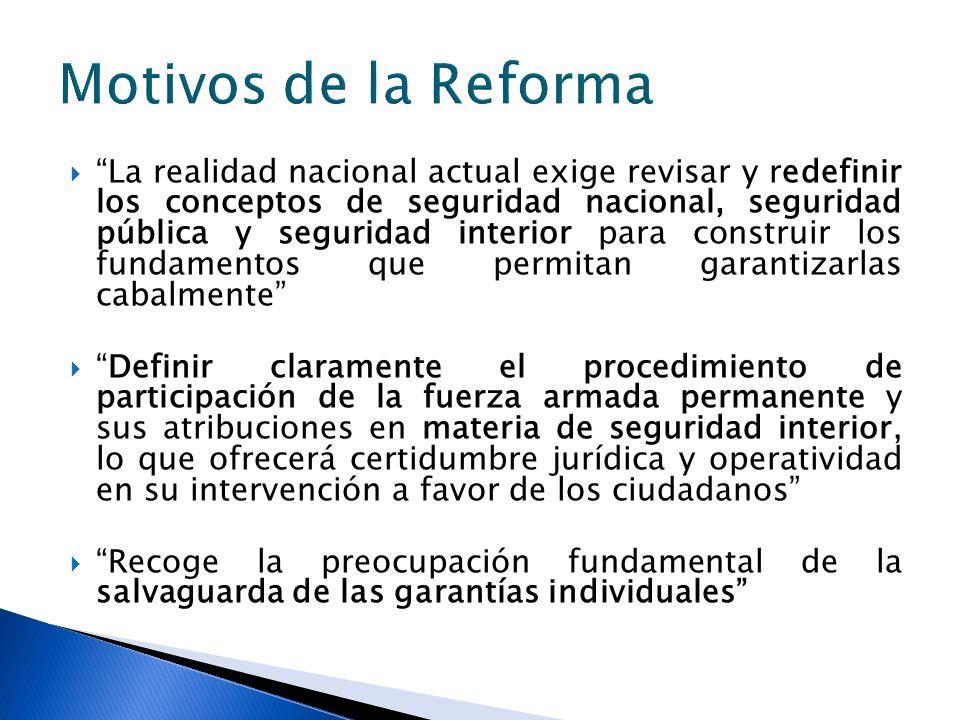 La realidad nacional actual exige revisar y redefinir los conceptos de seguridad nacional, seguridad pública y seguridad interior para construir los f