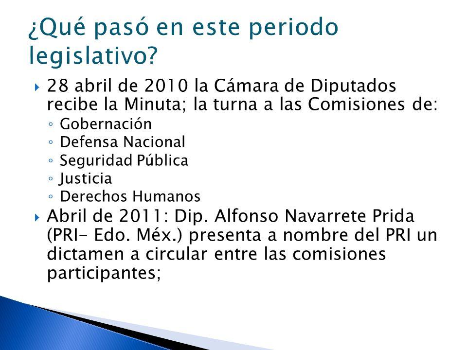28 abril de 2010 la Cámara de Diputados recibe la Minuta; la turna a las Comisiones de: Gobernación Defensa Nacional Seguridad Pública Justicia Derechos Humanos Abril de 2011: Dip.