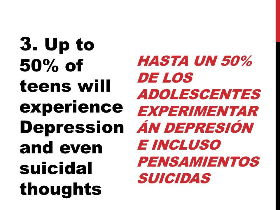 HASTA UN 50% DE LOS ADOLESCENTES EXPERIMENTAR ÁN DEPRESIÓN E INCLUSO PENSAMIENTOS SUICIDAS 3. Up to 50% of teens will experience Depression and even s