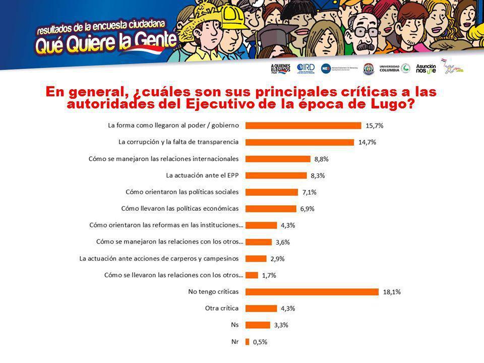 En general, ¿cuáles son sus principales críticas a las autoridades del Ejecutivo de la época de Lugo