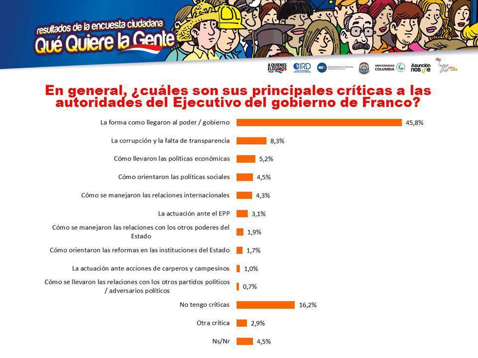 En general, ¿cuáles son sus principales críticas a las autoridades del Ejecutivo del gobierno de Franco