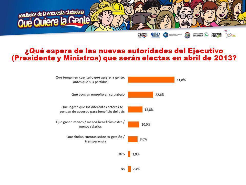 ¿Qué espera de las nuevas autoridades del Ejecutivo (Presidente y Ministros) que serán electas en abril de 2013