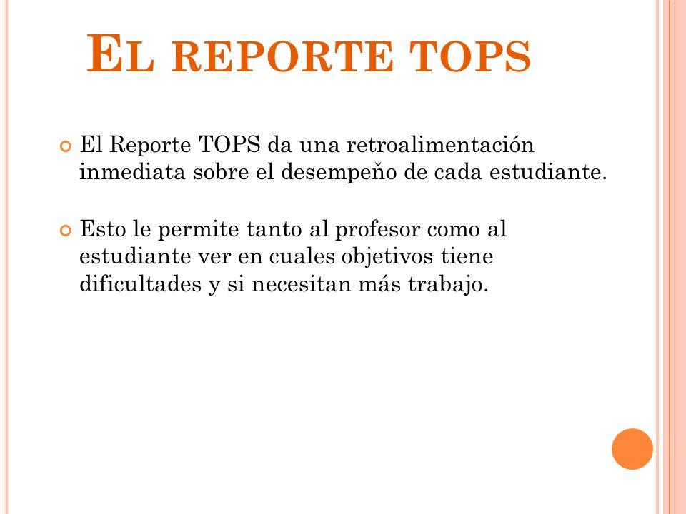 8 E L REPORTE TOPS El Reporte TOPS da una retroalimentación inmediata sobre el desempeňo de cada estudiante. Esto le permite tanto al profesor como al