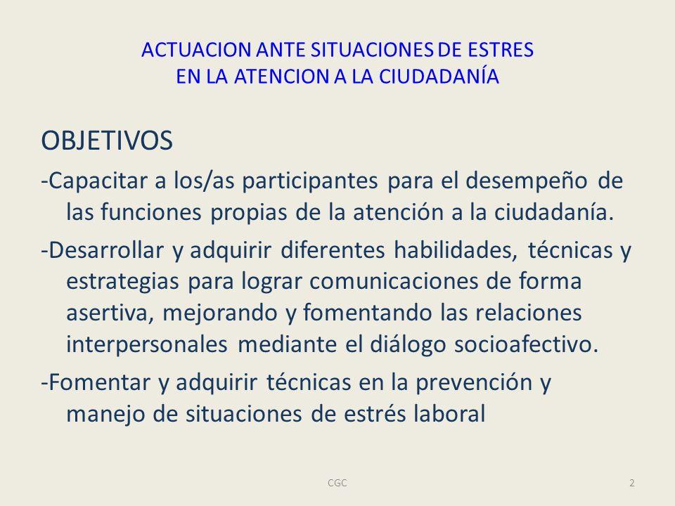 ACTUACION ANTE SITUACIONES DE ESTRES EN LA ATENCION A LA CIUDADANÍA CGC2 OBJETIVOS -Capacitar a los/as participantes para el desempeño de las funciones propias de la atención a la ciudadanía.