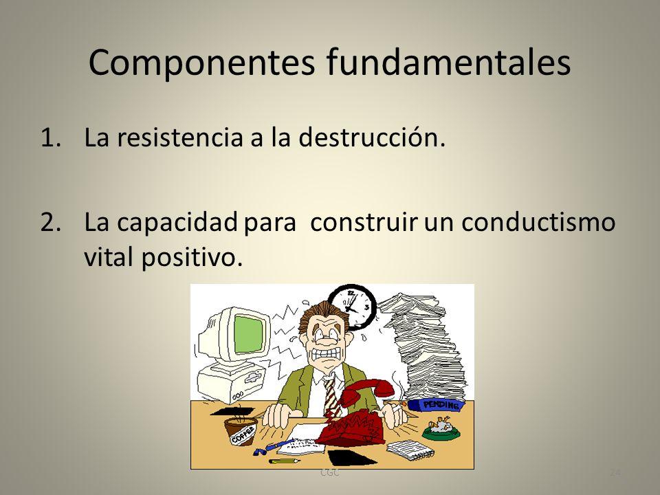 Componentes fundamentales 1.La resistencia a la destrucción. 2.La capacidad para construir un conductismo vital positivo. 24CGC