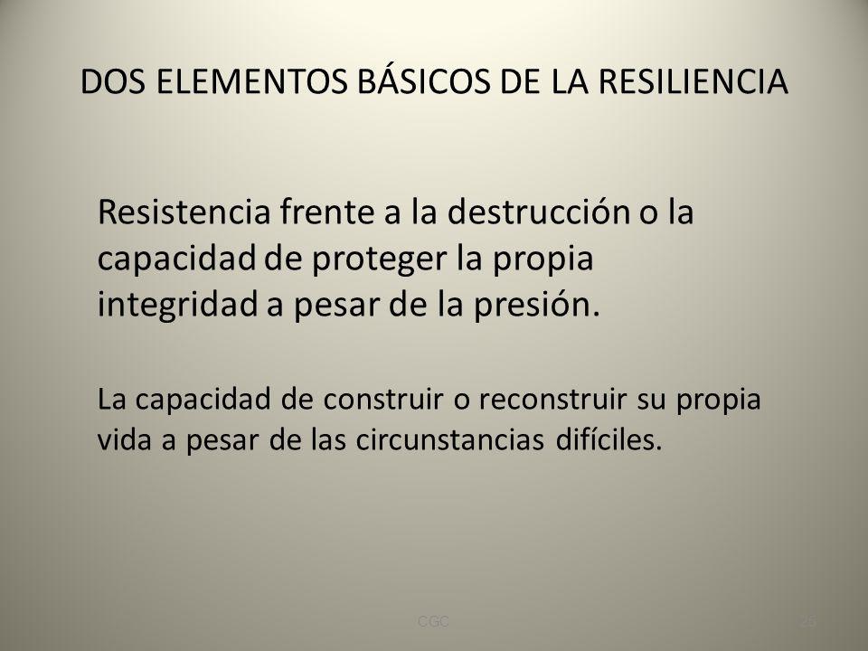 DOS ELEMENTOS BÁSICOS DE LA RESILIENCIA Resistencia frente a la destrucción o la capacidad de proteger la propia integridad a pesar de la presión.