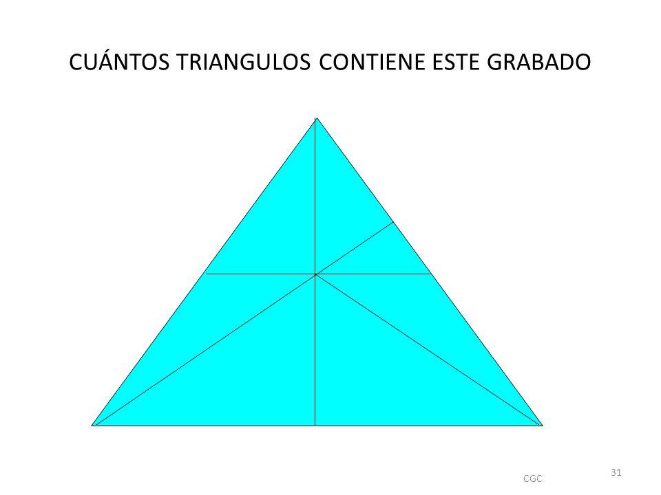 CUÁNTOS TRIANGULOS CONTIENE ESTE GRABADO CGC 31