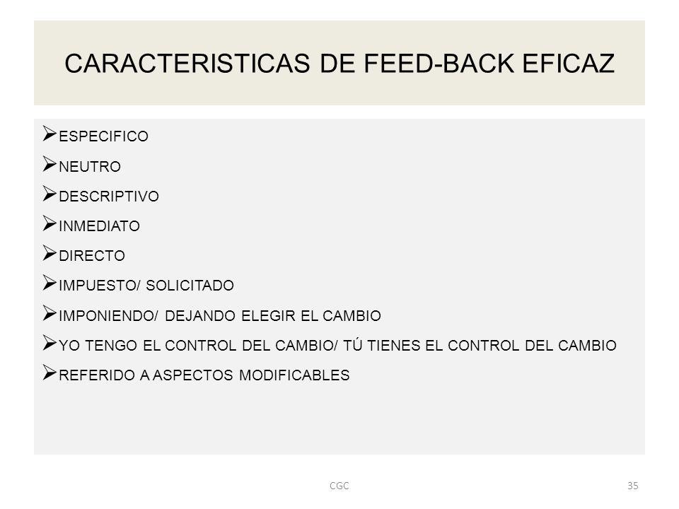CARACTERISTICAS DE FEED-BACK EFICAZ ESPECIFICO NEUTRO DESCRIPTIVO INMEDIATO DIRECTO IMPUESTO/ SOLICITADO IMPONIENDO/ DEJANDO ELEGIR EL CAMBIO YO TENGO EL CONTROL DEL CAMBIO/ TÚ TIENES EL CONTROL DEL CAMBIO REFERIDO A ASPECTOS MODIFICABLES 35CGC