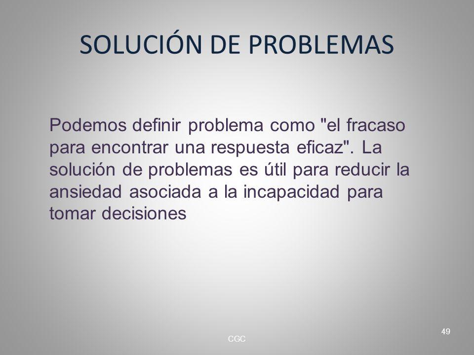 SOLUCIÓN DE PROBLEMAS Podemos definir problema como el fracaso para encontrar una respuesta eficaz .