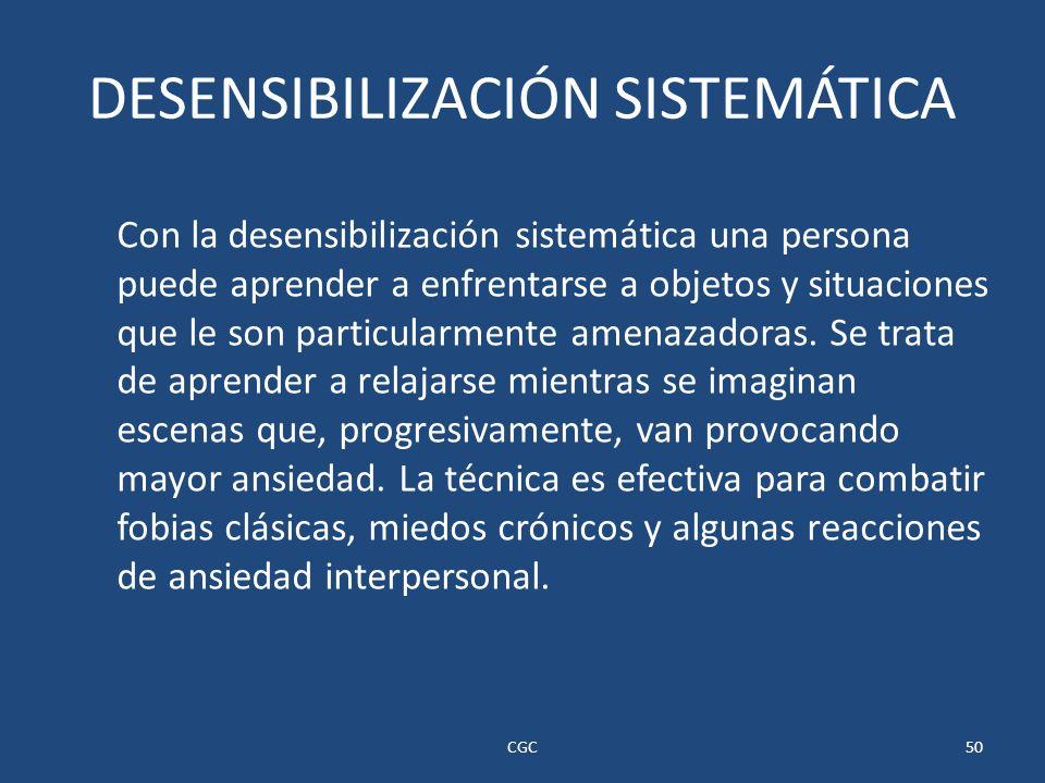 DESENSIBILIZACIÓN SISTEMÁTICA Con la desensibilización sistemática una persona puede aprender a enfrentarse a objetos y situaciones que le son particularmente amenazadoras.