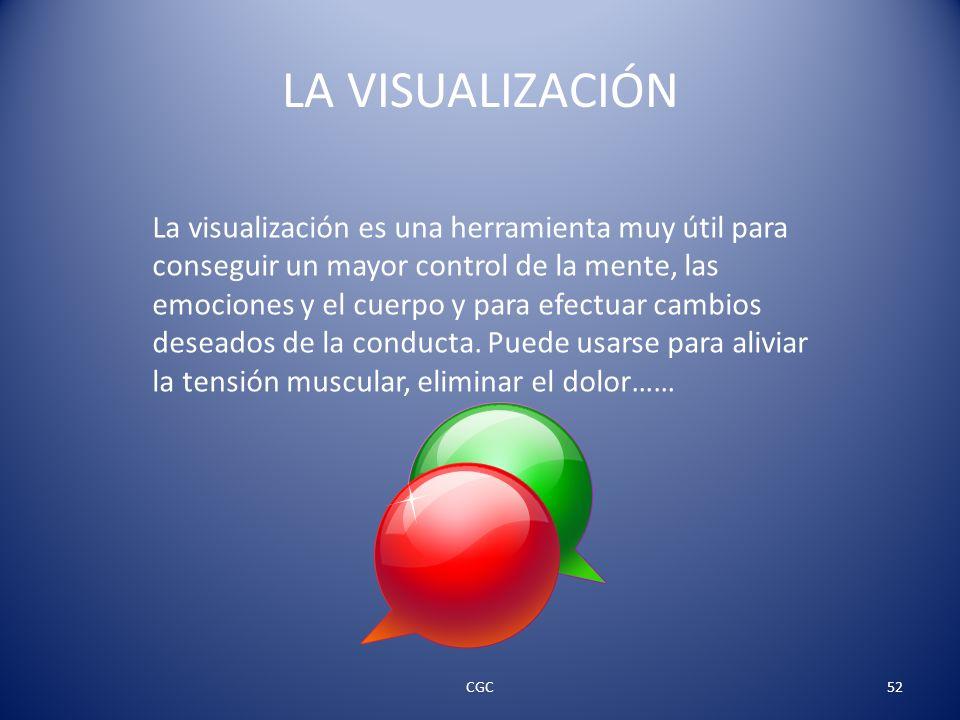 LA VISUALIZACIÓN La visualización es una herramienta muy útil para conseguir un mayor control de la mente, las emociones y el cuerpo y para efectuar cambios deseados de la conducta.