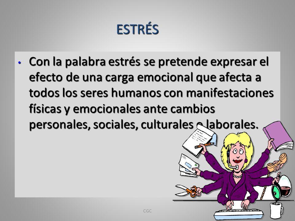 Con la palabra estrés se pretende expresar el efecto de una carga emocional que afecta a todos los seres humanos con manifestaciones físicas y emocion