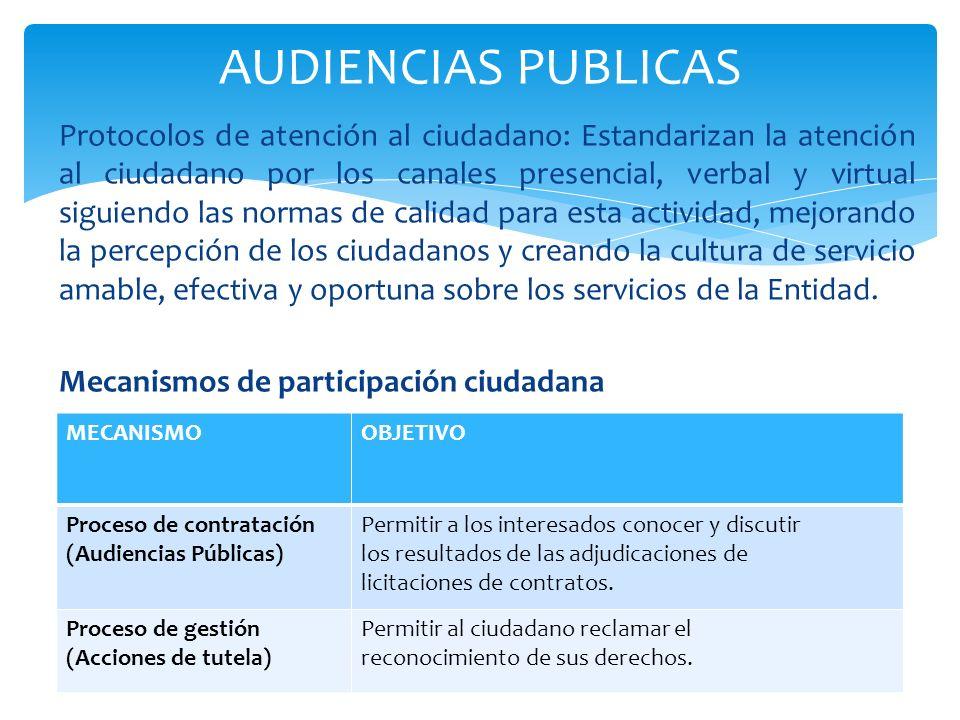 Protocolos de atención al ciudadano: Estandarizan la atención al ciudadano por los canales presencial, verbal y virtual siguiendo las normas de calida