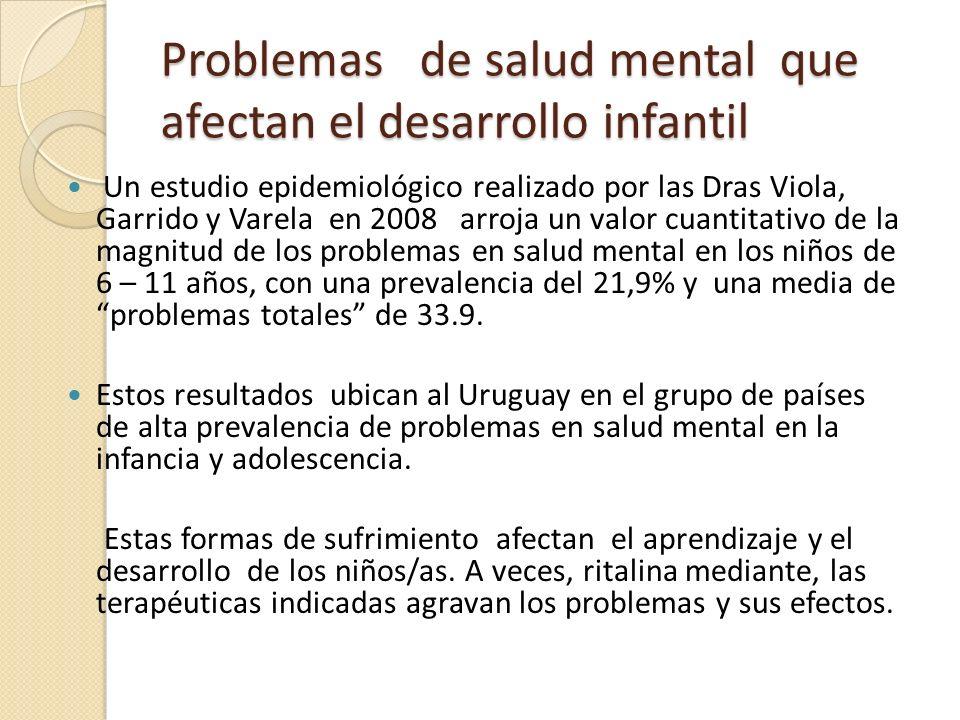 Problemas de salud mental que afectan el desarrollo infantil Un estudio epidemiológico realizado por las Dras Viola, Garrido y Varela en 2008 arroja u