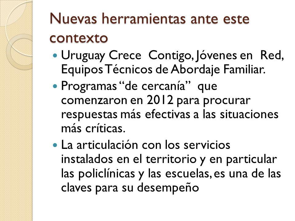 Nuevas herramientas ante este contexto Uruguay Crece Contigo, Jóvenes en Red, Equipos Técnicos de Abordaje Familiar. Programas de cercanía que comenza