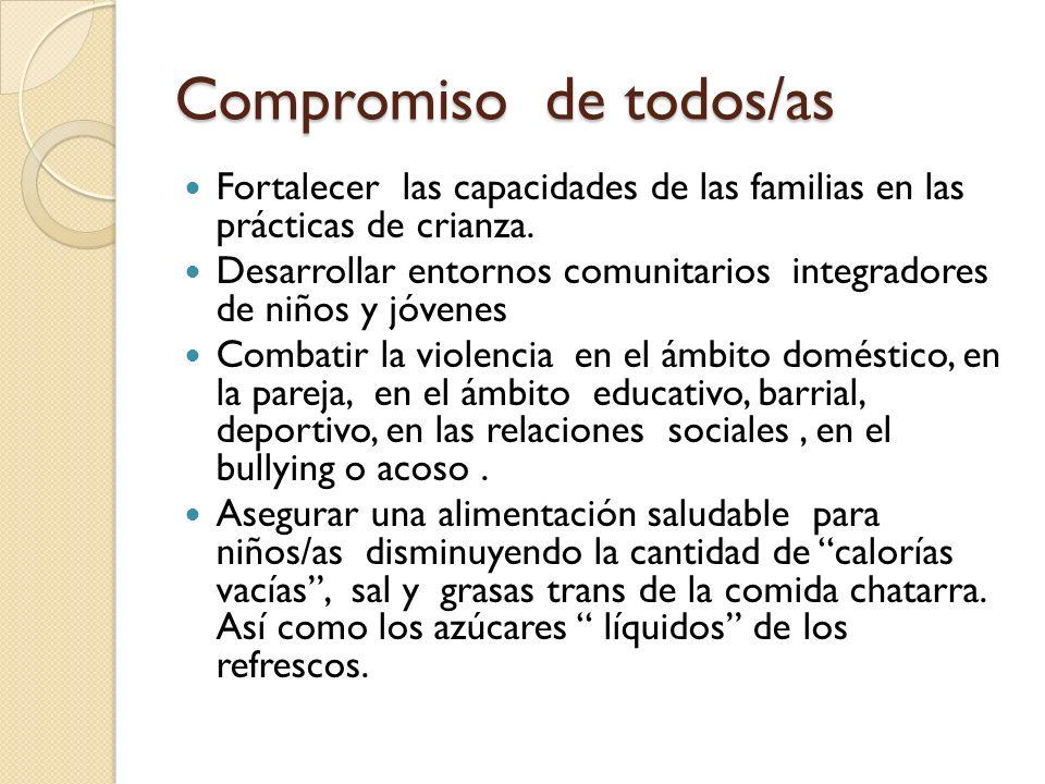 Compromiso de todos/as Fortalecer las capacidades de las familias en las prácticas de crianza. Desarrollar entornos comunitarios integradores de niños