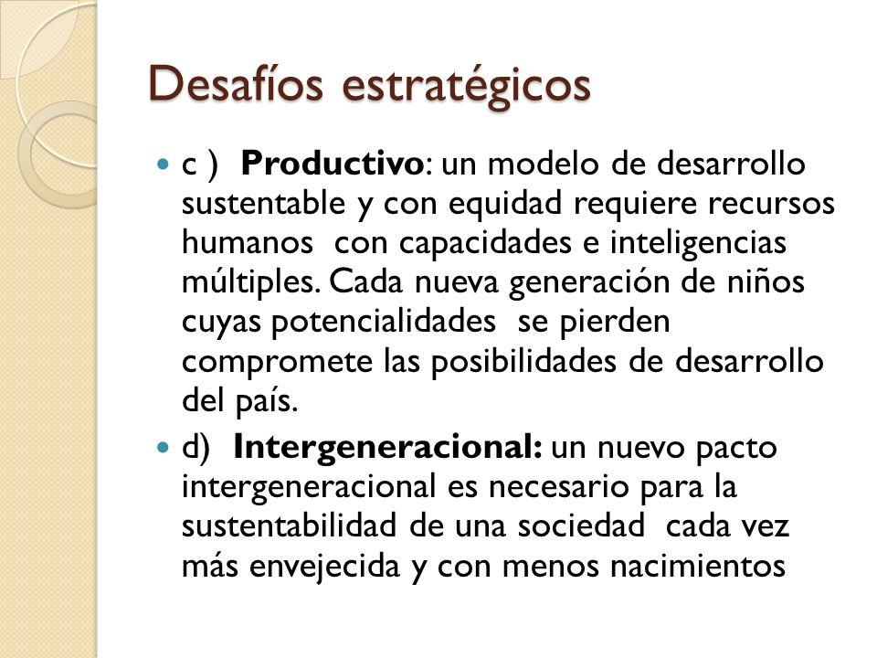 Desafíos estratégicos c ) Productivo: un modelo de desarrollo sustentable y con equidad requiere recursos humanos con capacidades e inteligencias múlt