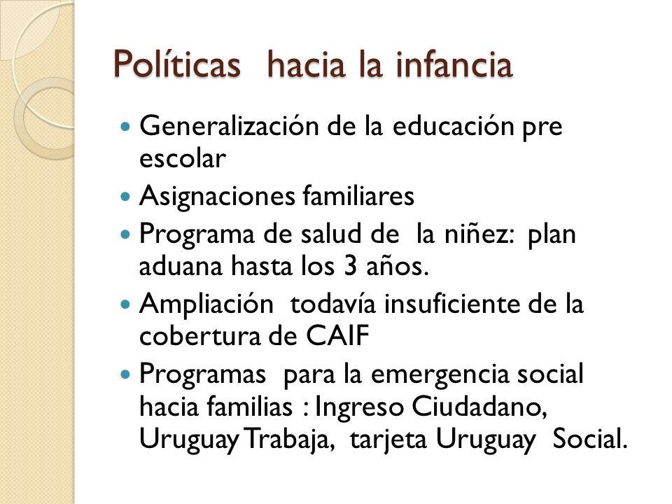 Políticas hacia la infancia Generalización de la educación pre escolar Asignaciones familiares Programa de salud de la niñez: plan aduana hasta los 3