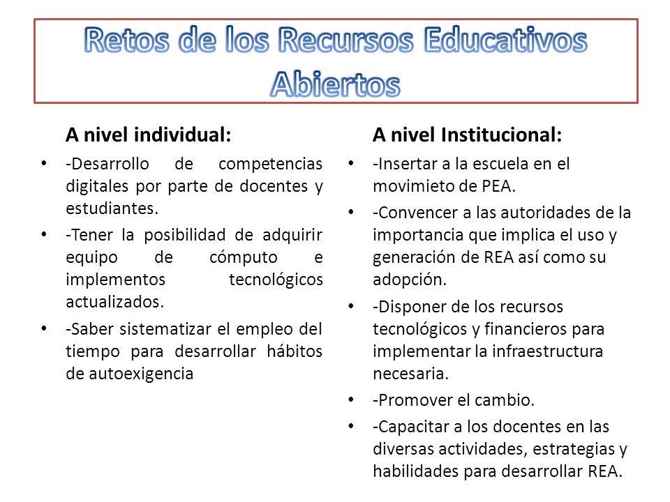 A nivel individual: -Desarrollo de competencias digitales por parte de docentes y estudiantes.
