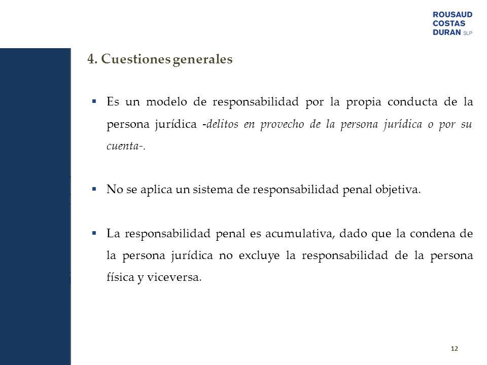 12 Es un modelo de responsabilidad por la propia conducta de la persona jurídica -delitos en provecho de la persona jurídica o por su cuenta-. No se a