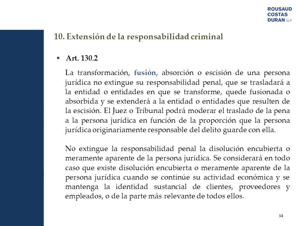 10. Extensión de la responsabilidad criminal 34 Art. 130.2 La transformación, fusión, absorción o escisión de una persona jurídica no extingue su resp