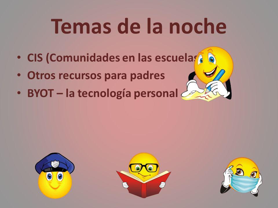 Temas de la noche CIS (Comunidades en las escuelas) Otros recursos para padres BYOT – la tecnología personal