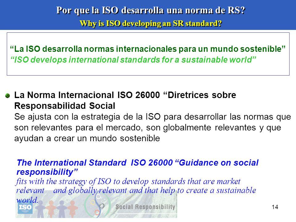 14 Por que la ISO desarrolla una norma de RS? Why is ISO developing an SR standard? La Norma Internacional ISO 26000 Diretrices sobre Responsabilidad