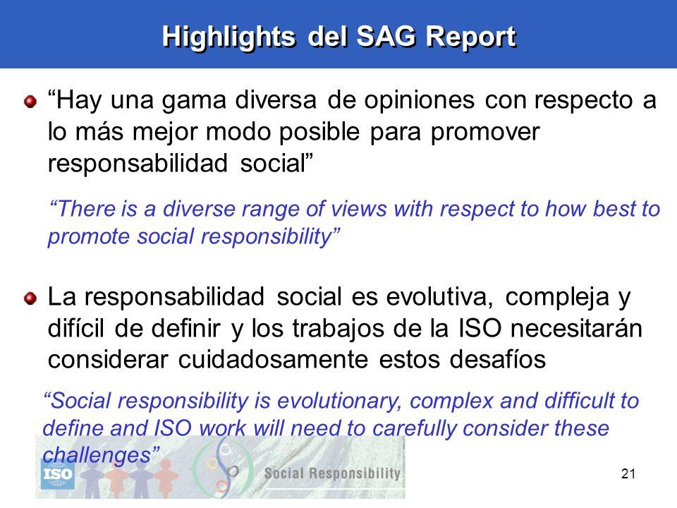 21 Highlights del SAG Report Hay una gama diversa de opiniones con respecto a lo más mejor modo posible para promover responsabilidad social There is