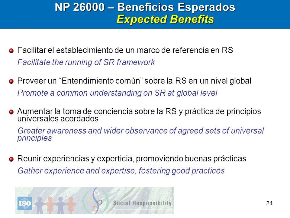 24 NP 26000 – Beneficios Esperados Expected Benefits Expected Benefits Facilitar el establecimiento de un marco de referencia en RS Facilitate the run