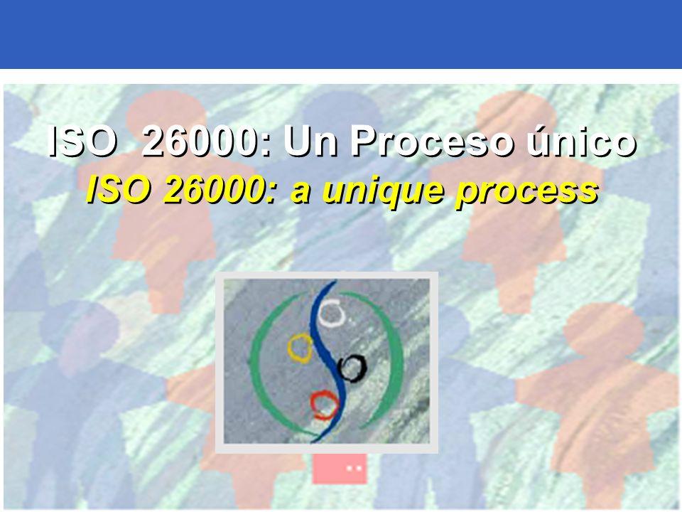 25 ISO 26000: Un Proceso único ISO 26000: a unique process ISO 26000: Un Proceso único ISO 26000: a unique process