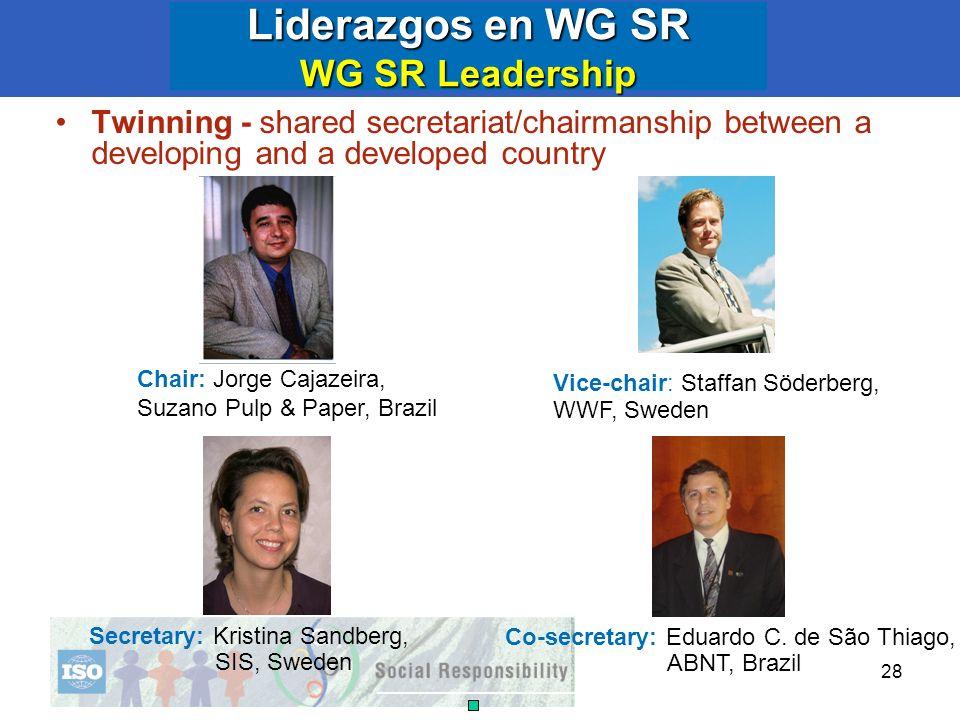 28 Liderazgos en WG SR WG SR Leadership Twinning - shared secretariat/chairmanship between a developing and a developed country Chair: Jorge Cajazeira