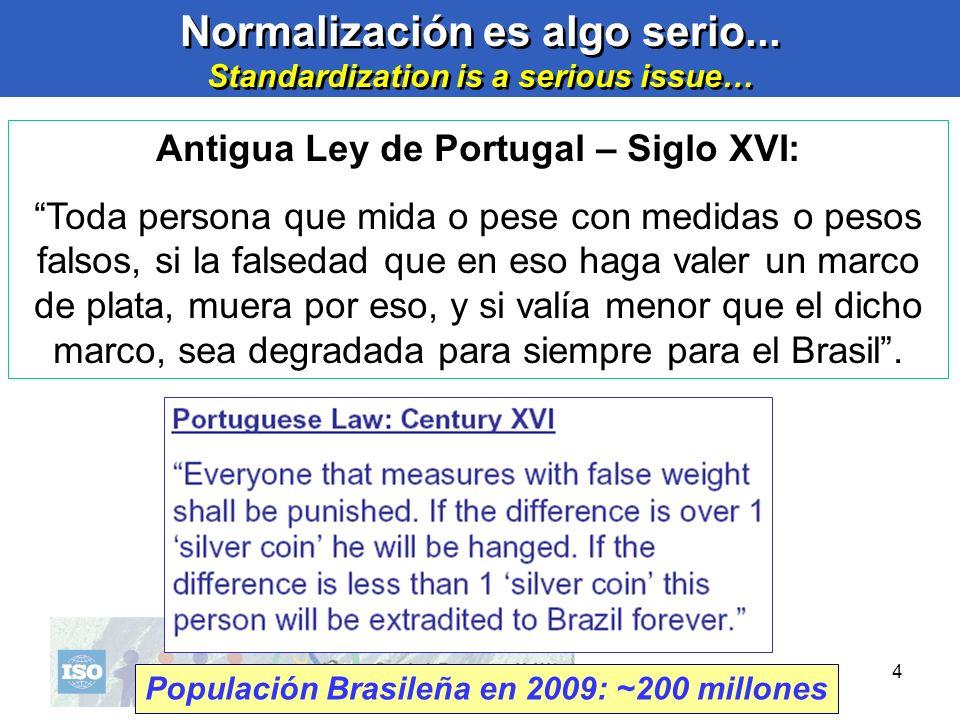 4 4 Normalización es algo serio... Standardization is a serious issue… Normalización es algo serio... Standardization is a serious issue… Antigua Ley