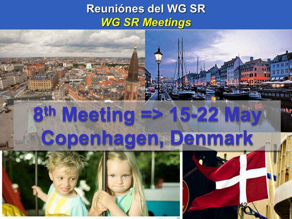 42 Reuniónes del WG SR WG SR Meetings 8 th Meeting => 15-22 May Copenhagen, Denmark 8 th Meeting => 15-22 May Copenhagen, Denmark