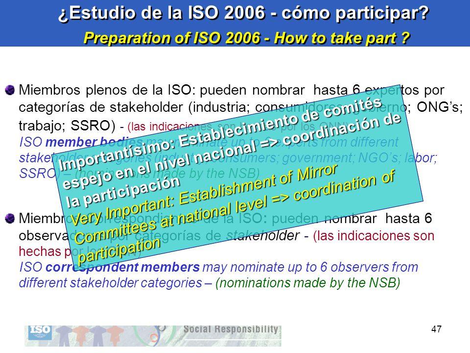47 ¿Estudio de la ISO 2006 - cómo participar? Preparation of ISO 2006 - How to take part ? ¿Estudio de la ISO 2006 - cómo participar? Preparation of I