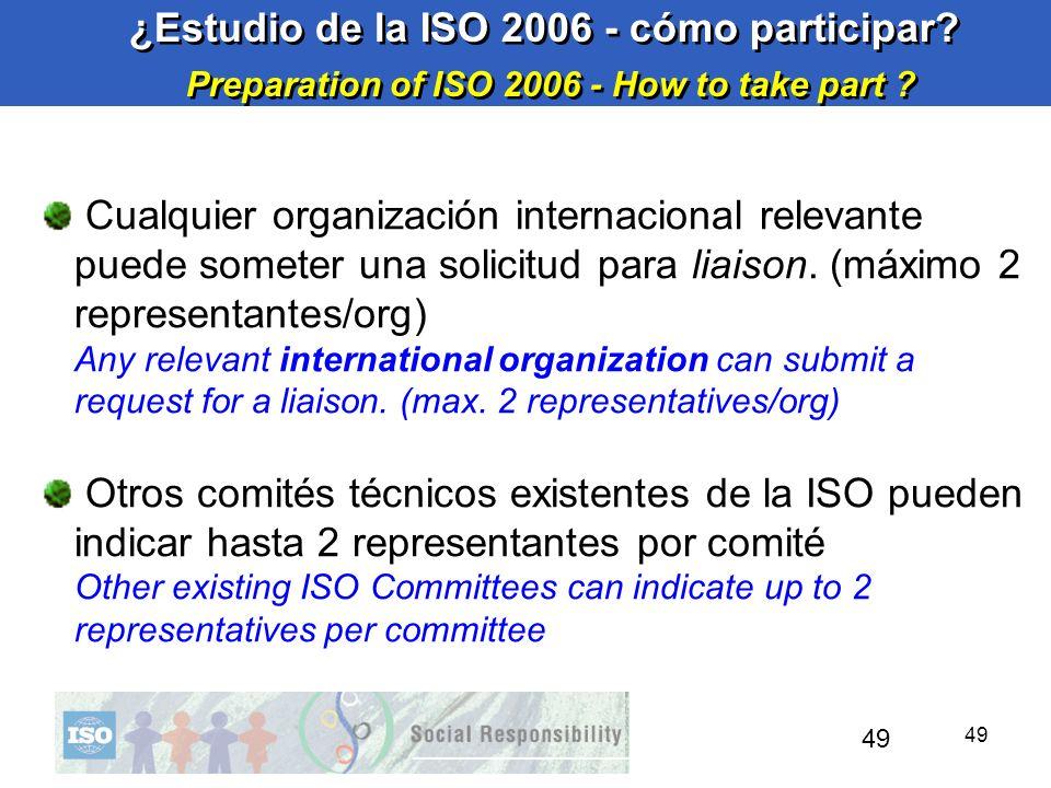 49 ¿Estudio de la ISO 2006 - cómo participar? Preparation of ISO 2006 - How to take part ? ¿Estudio de la ISO 2006 - cómo participar? Preparation of I