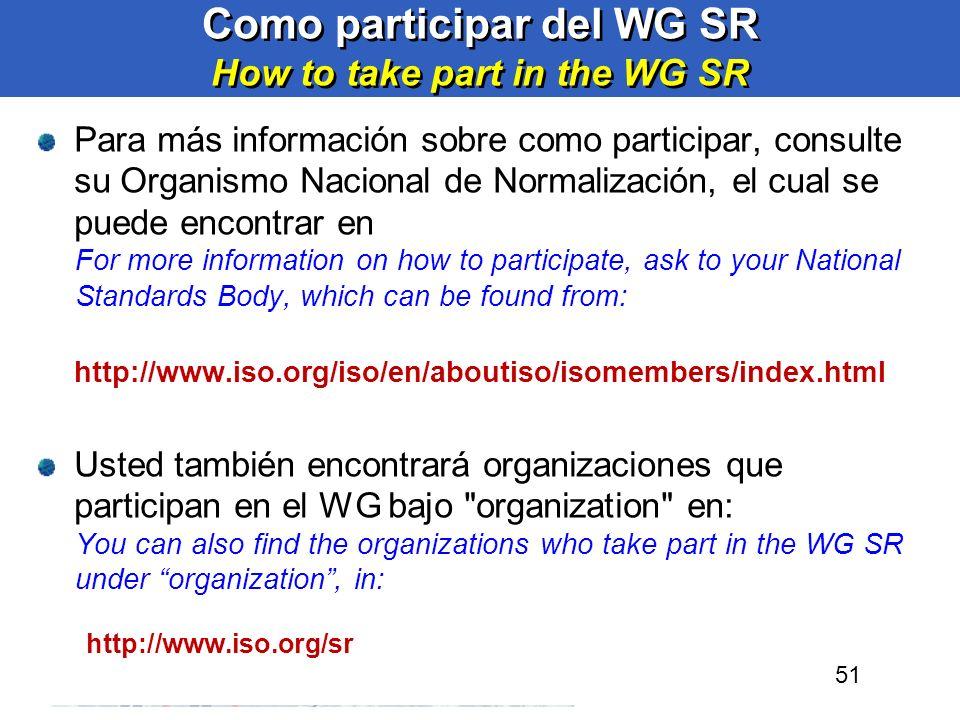 51 Como participar del WG SR How to take part in the WG SR Para más información sobre como participar, consulte su Organismo Nacional de Normalización